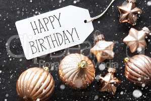 Bronze Christmas Balls, Snowflakes, Text Happy Birthday