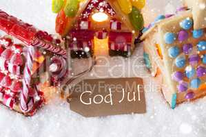 Colorful Gingerbread House, Snowflakes, God Jul Means Merry Christmas