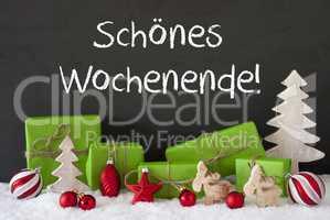 Christmas Decoration, Cement, Snow, Schoenes Wochenende Means Happy Weekend
