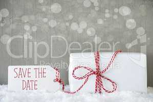 Gift, Cement Background With Bokeh, English Text Save The Date