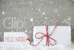 Gift, Cement Background With Snowflakes, Feliz Natal Means Merry Christmas