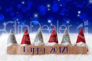 Gnomes, Blue Background, Bokeh, Stars, Text Happy 2017