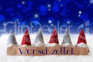 Gnomes, Blue Bokeh, Stars, Wunschzettel Means Wish List