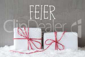 Two Gifts With Snow, Feier Means Celebration