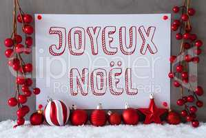 Label, Snow, Balls, Joyeux Noel Means Merry Christmas
