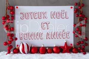 Label, Snow, Christmas Balls, Bonne Annee Means New Year