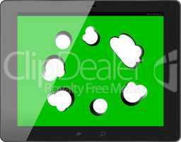 speech bubble on black tablet pc social, network concept