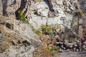 close-up stone at deep unused stone quarry