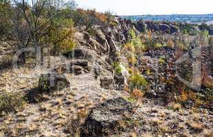 deep unused stone quarry