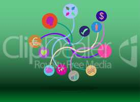 Technology network. Connected symbols for digital, connect, communicate, social media and global concepts. Background with lines, circles, integrate flat icons