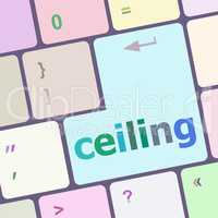 ceiling word on computer pc keyboard key