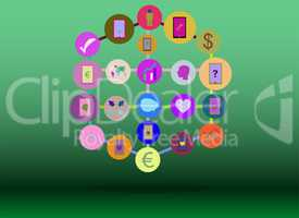 Social media network. Connected symbols for interactive, market, digital, communicate, connect, global concepts. Background with circles, lines and integrate flat icons.