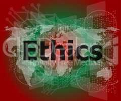 ethics word on digital touch screen