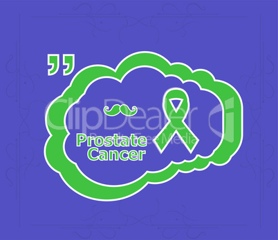 Prostate cancer ribbon awareness on light blue background. ribbon with mustache. Graves Disease.