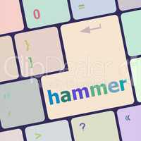hammer word on computer pc keyboard key