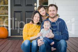 Young Mixed Race Chinese and Caucasian Family Portrait