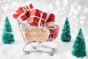 Trolly With Christmas Presents, Snow, Text Save The Date