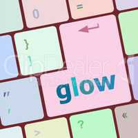 glow word on keyboard key, notebook computer button