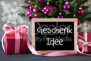 Tree With Gifts, Bokeh, Text Geschenk Idee Means Gift Idea