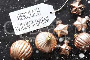 Bronze Christmas Balls, Snowflakes, Herzlich Willkommen Means Welcome