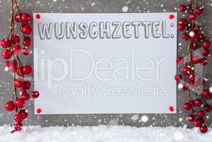 Label, Snowflakes, Christmas Decoration, Wunschzettel Means Wish List