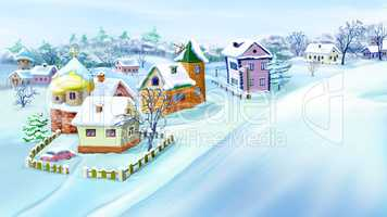 Eastern  Europe Traditional Village in Winter.