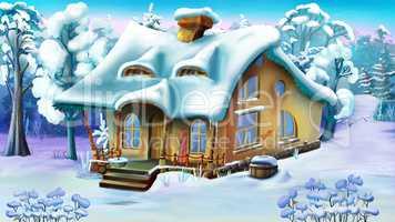 Fairy Tale House on the Edge of a Snowy Forest