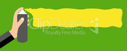 Sprühdose sprüht gelb auf grün - Flat Design