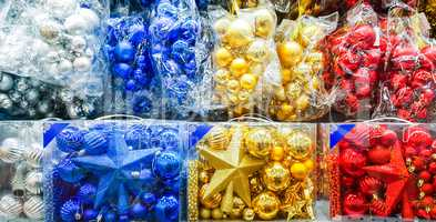 Colored Christmas toys in store.
