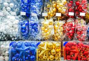 Colored Christmas toys in store.  decorations.