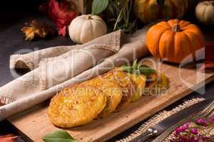 Potato pancakes with pumpkin puree