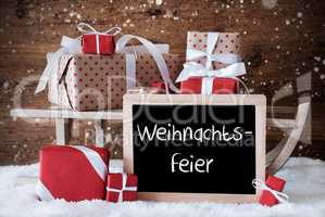 Sleigh With Gifts, Snow, Snowflakes, Weihnachtsfeier Means Christmas Party