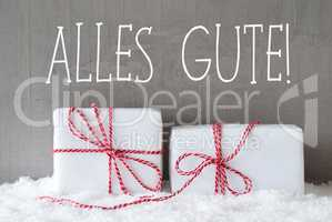 Two Gifts With Snow, Alles Gute Means Best Wishes