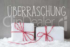 Two Gifts With Snow, Ueberraschung Means Surprise