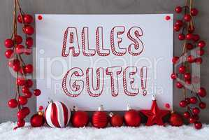 Label, Snow, Christmas Balls, Alles Gute Means Best Wishes