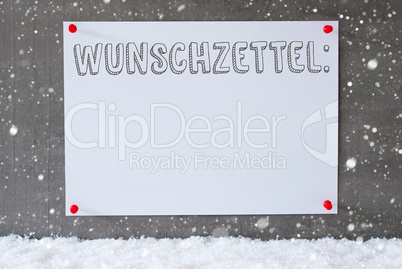 Label On Cement Wall, Snowflakes, Wunschzettel Means Wish List