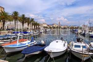 Riva waterfront, houses and Cathedral of Saint Domnius, Dujam, Duje, bell tower Old town, Split, Croatia