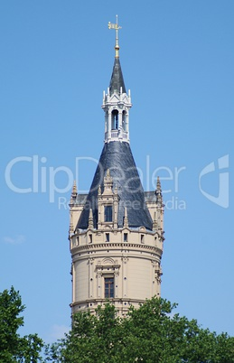 Tower in the blue sky of the schweriner castle