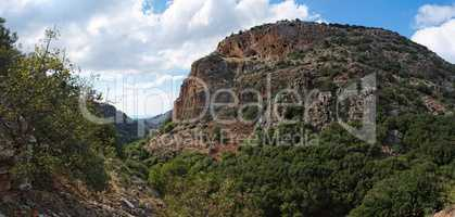 Mediterranean mountainous landscape in cloudy day