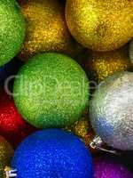 Shiny Christmas decorations in different colors