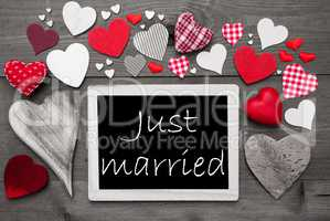 Chalkbord With Many Red Hearts, Just Married