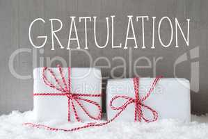 Two Gifts With Snow, Gratulation Means Congratulations