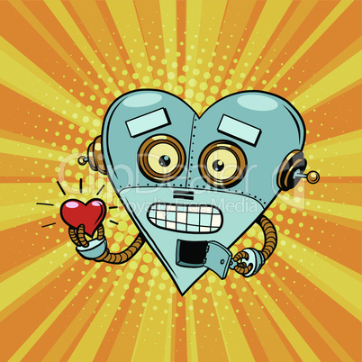 Retro robot heart Valentine love and romance