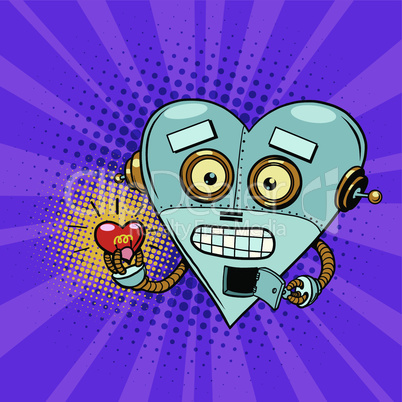 Retro robot and the light bulb heart Valentine