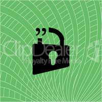 blue open lock sign, quotation mark speech bubble and chat symbol