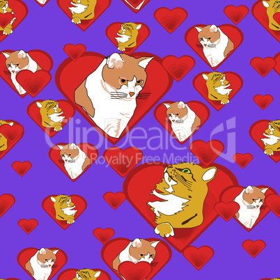 Hearts with Cats in Love Pattern