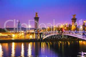 Pont Alexandre III (Alexander III bridge) in Paris, France