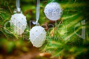 Christmas Ornaments including toys on Christmas tree