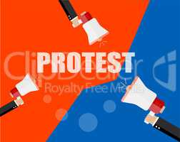 Hands holding protest signs and bullhorn, crowd of people protesters background, political, politic crisis poster, fists, revolution placard concept symbol flat style