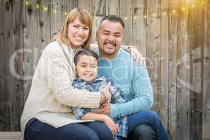 Young Mixed Race Family Portrait Outside